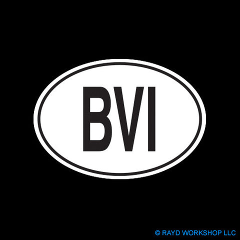British Virgin Island Oval Self Adhesive Sticker