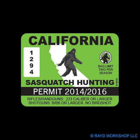 California Sasquatch Hunting Permit
