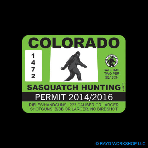 Colorado Sasquatch Hunting Permit