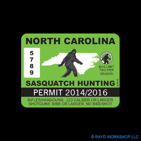 North Carolina Sasquatch Hunting Permit