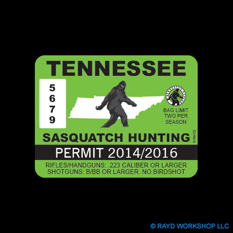 Tennessee Sasquatch Hunting Permit
