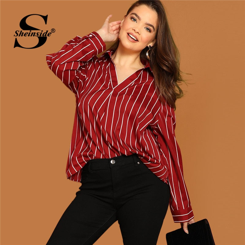Sheinside Plus Size V Neck Striped Blouse Women Long Sleeve Top 2019 S Roomgsport