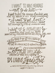 Hands Free Pledge Letterpress Print