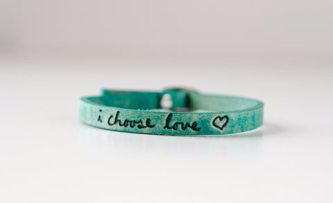 I Choose Love Bracelet-Aqua
