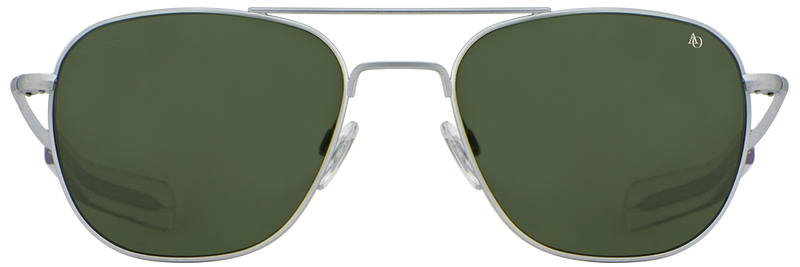 Original Pilot Sunglasses (Matte Silver), Grey Glass, Bayonet Temple