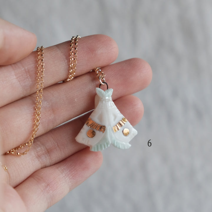Porcelain Moth Necklace