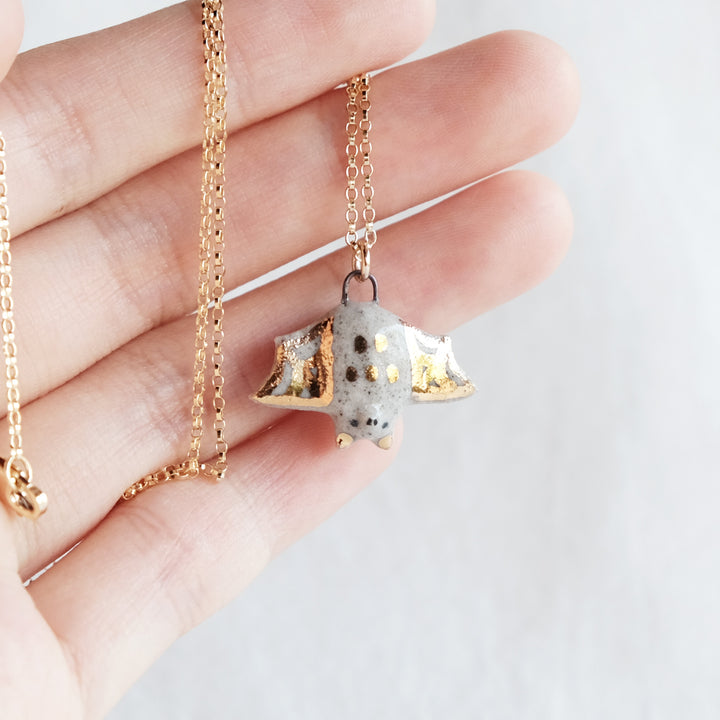 Speckled Cobweb Bat Necklace