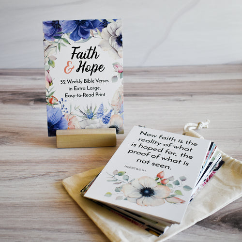 A Year of Faith & Hope Scripture Memory Verse Cards - Easy to Read Print!