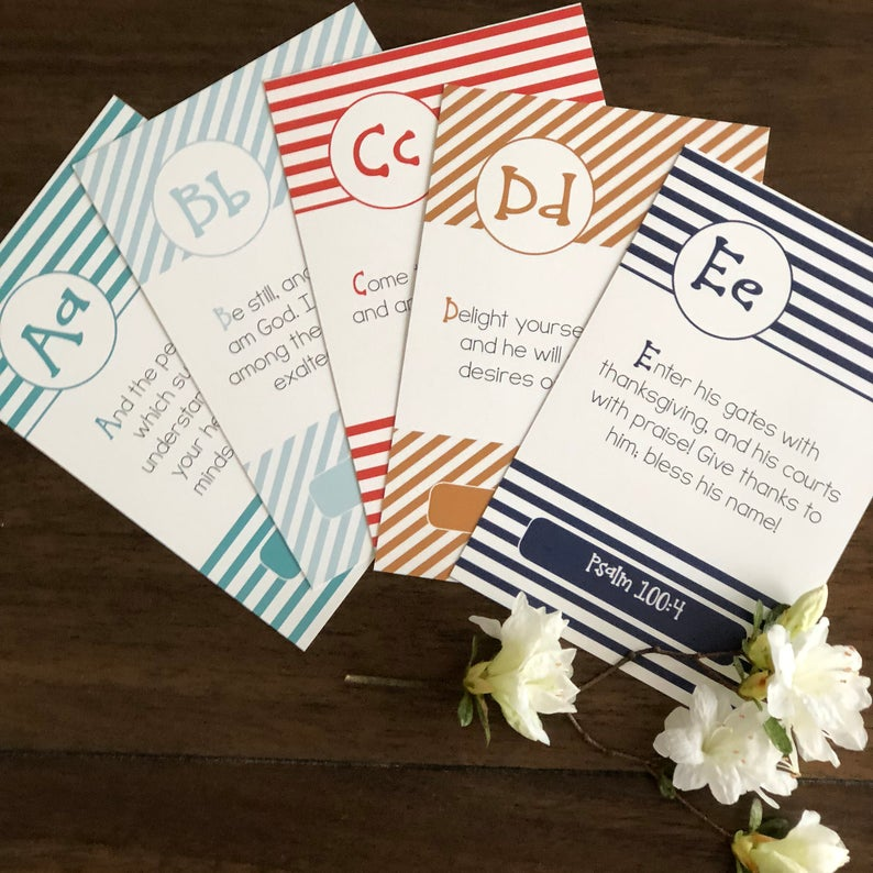 ABC Bible Verse Flash Cards - Stripes