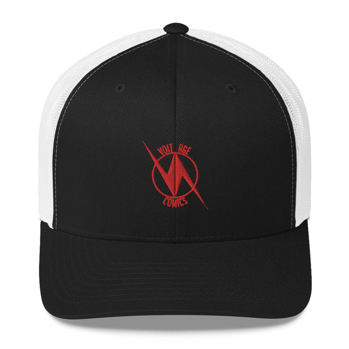 Volt Age Trucker Hat (Red on Black and White)