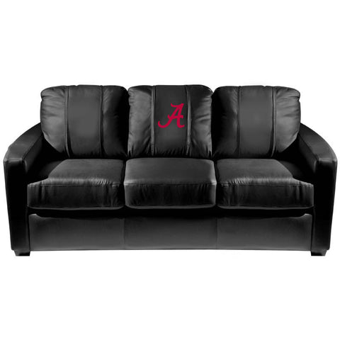Alabama Crimson Tide Collegiate Silver Sofa With  Red A Logo