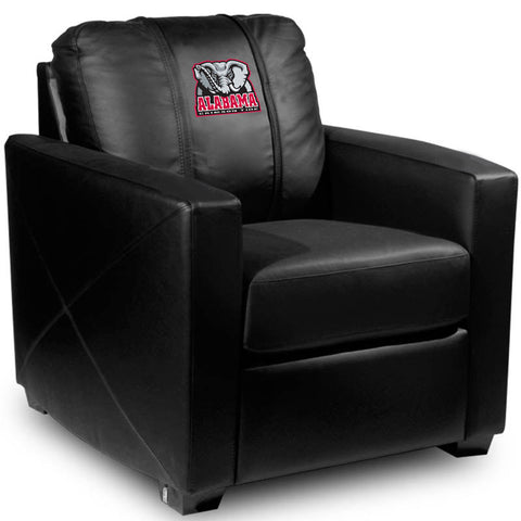 Alabama Crimson Tide Collegiate Silver Chair With Elephant Logo