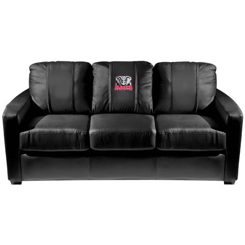 Alabama Crimson Tide Collegiate Silver Sofa With Elephant Logo