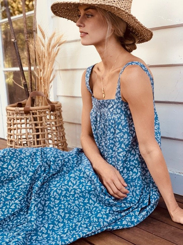 Arabella Vintage Indigo Floral Dress-1-5