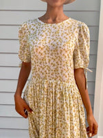 Cecilie White Cotton Floral Dress-1