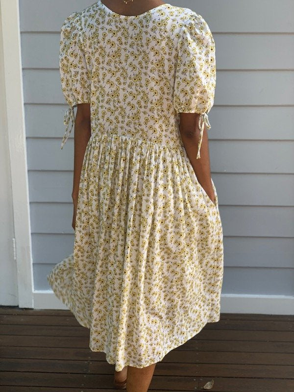 Cecilie White Cotton Floral Dress