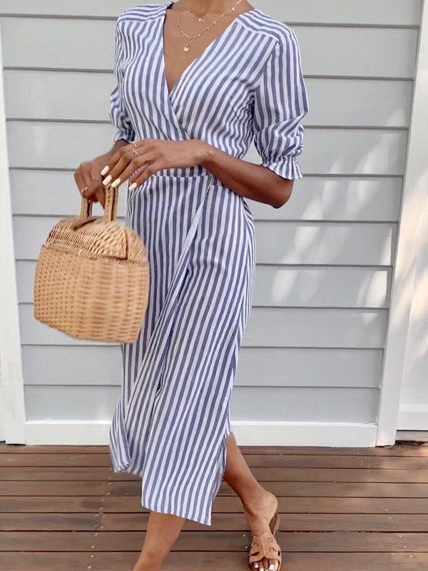 Lia Stripe Cotton Wrap Dress