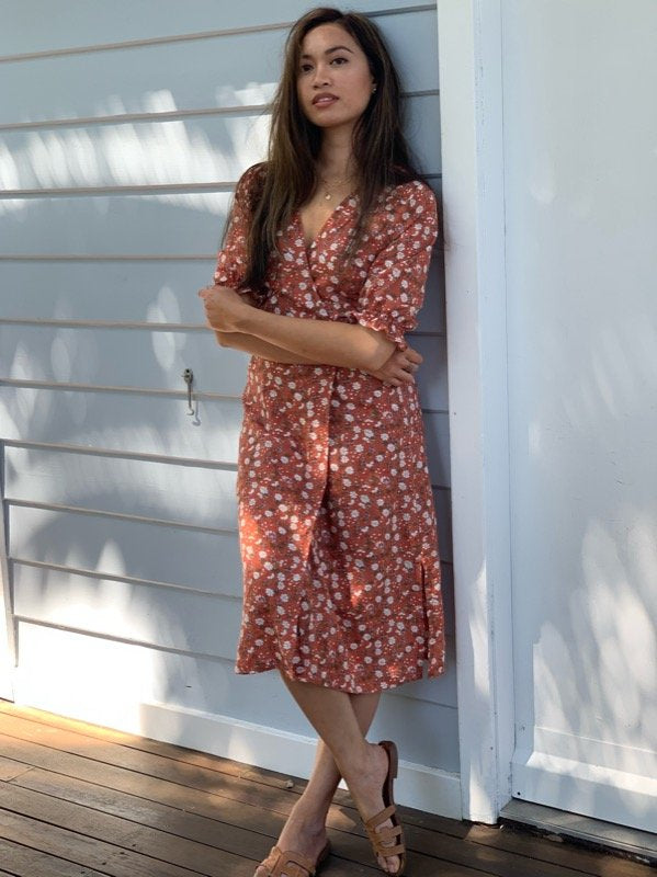 Lia Terracotta Cotton Wrap Dress