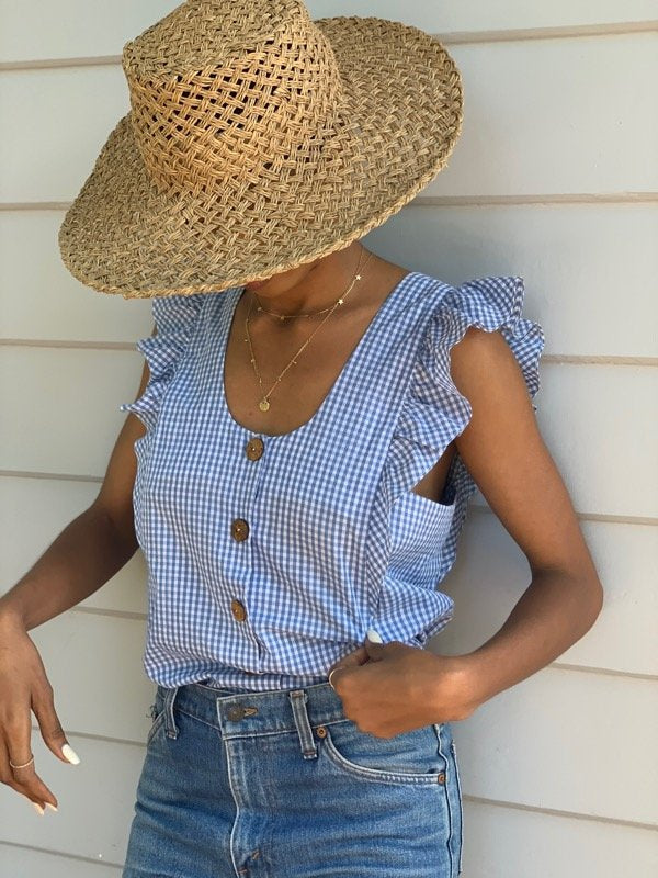 Mia Indigo Gingham Reversible Top