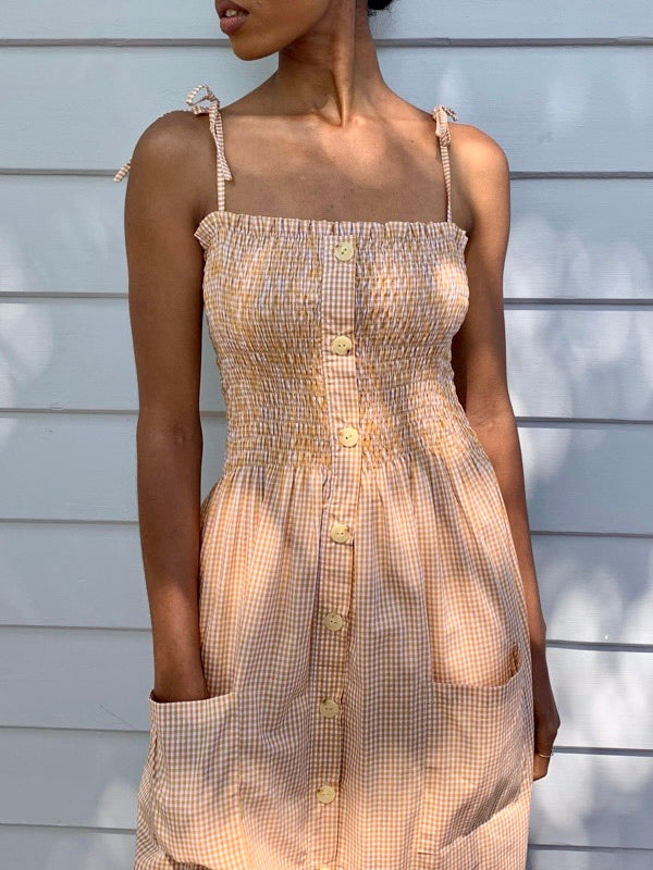 Alexa Golden Gingham Dress