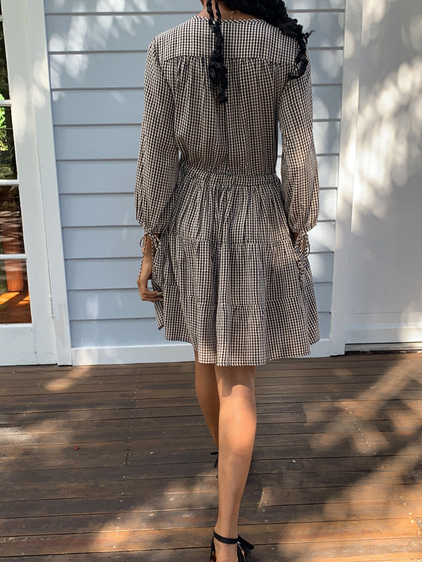 Priya Long Sleeve Gingham Dress