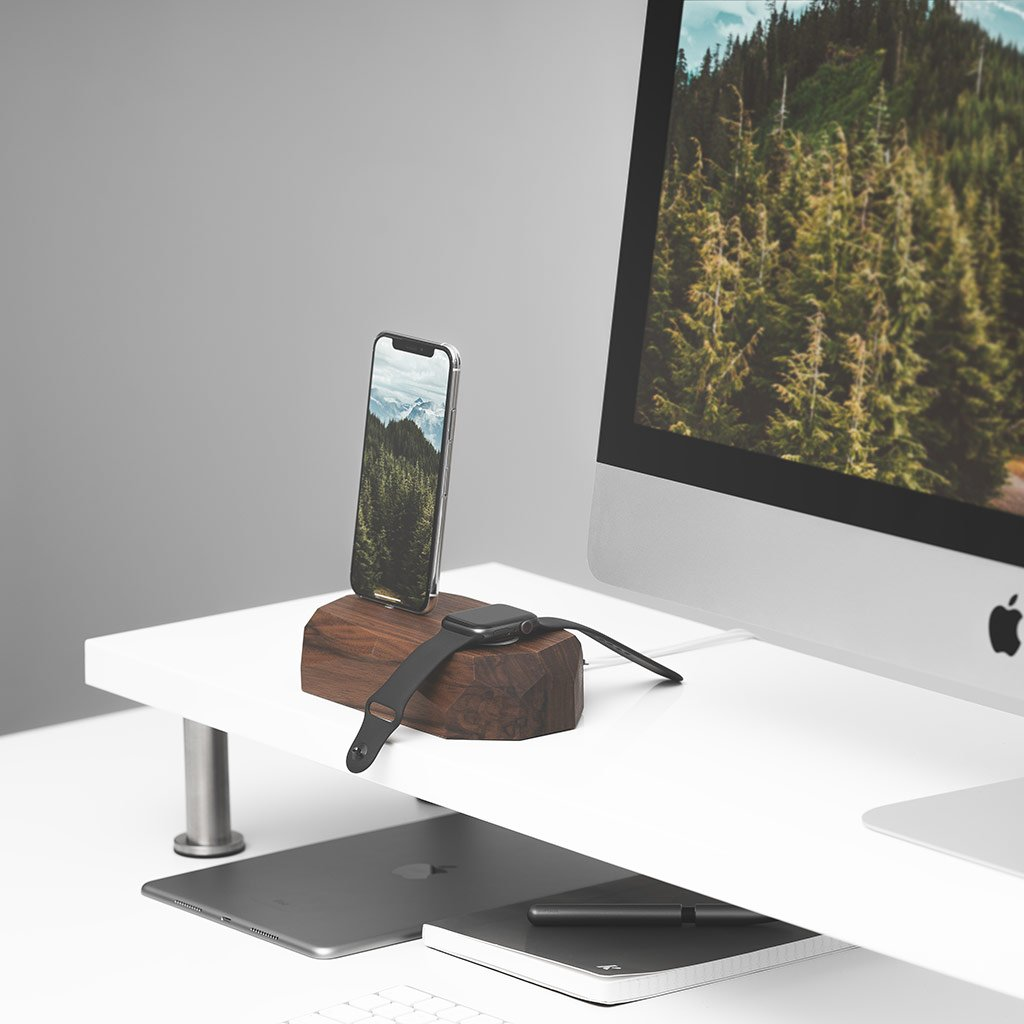 iphone and watch charging station |--variant--| Walnut
