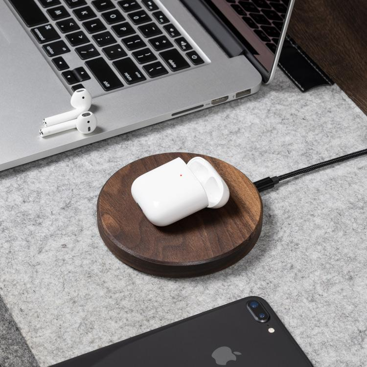 airpods wireless charging pad |--variant--|  Walnut