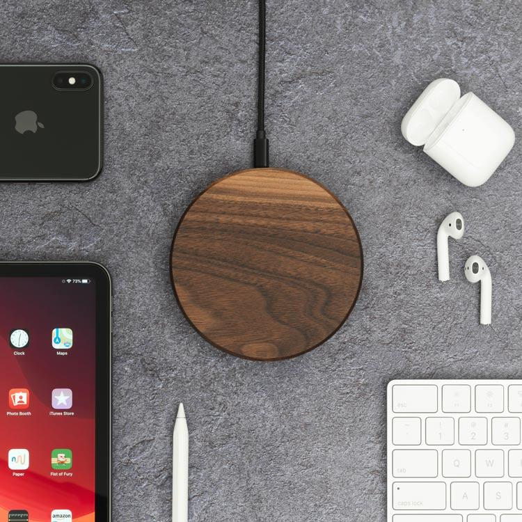 iphone xs wireless charging pad |--variant--|  Walnut