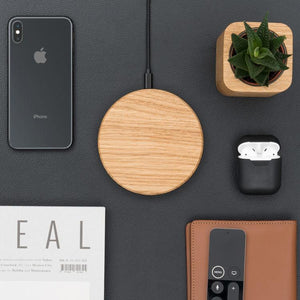 wood wireless charging pad |--variant--|  Oak