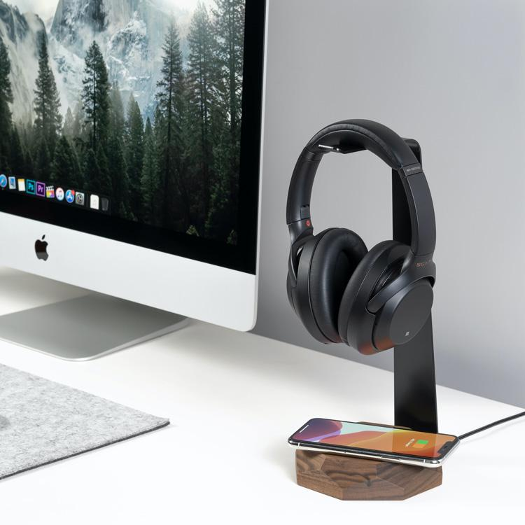 Oakywood 2in1 Headphone stand wireless charger |--variant--| Walnut