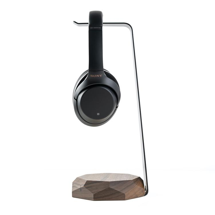 woooden headphone stand with induction charging function |--variant--| Walnut