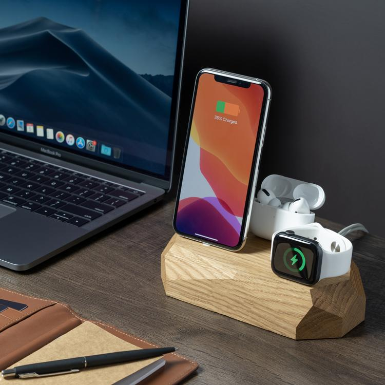 wooden charging dock for iphone apple watch |--variant--| Oak