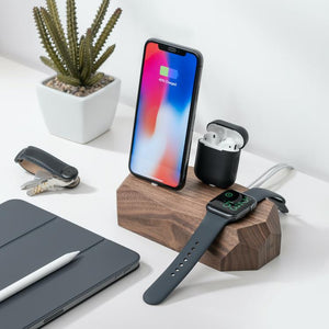 wooden charging dock iPhone, Apple Watch, AirPods charger |--variant--| Walnut