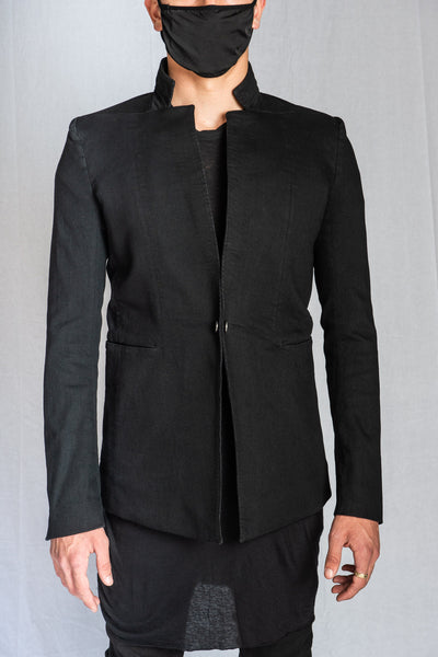Black Resin Dyed Stretch Cotton SUIT1