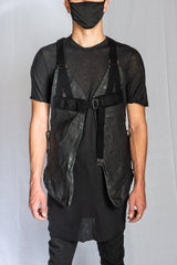 Boris Bidjan Saberi - Black Vegetable Tan Horse Leather VEST BAG 2