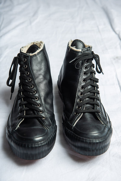 Black Asymmetrical Lace-Up High Top Sneakers