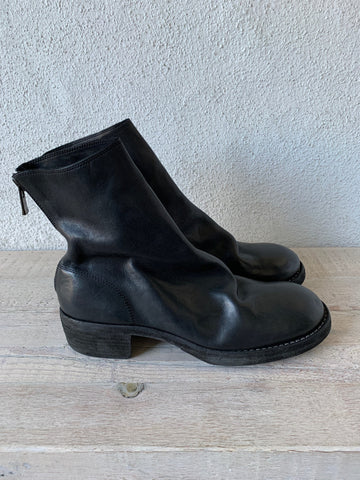 Black Back Zip Boots 796Z - GUIDI 1896