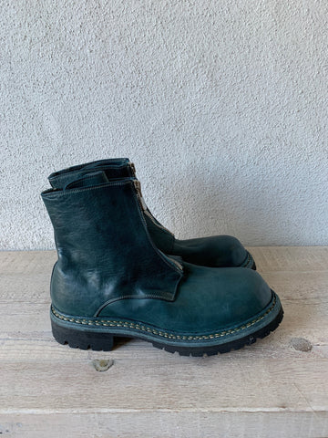 Teal Blue Big Daddy Front Zip Boots Vibram GR05FRV - GUIDI 1896