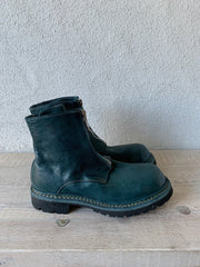 GUIDI 1896 - Teal Blue Big Daddy Front Zip Boots Vibram GR05FRV