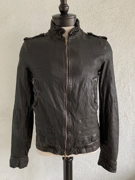 Dark Brown Wrinkle Washed Buffalo Leather Bomber Jacket by Neil Barrett
