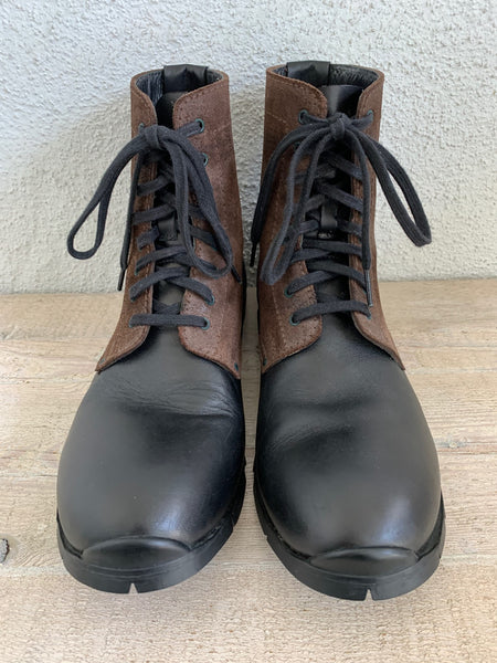 Black and Brown Lace-up Combat Boots by Premiata