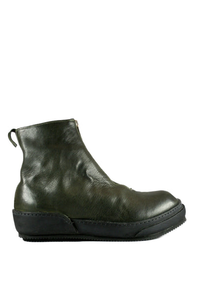 Green Military Front Zip Sneaker Boots PLS