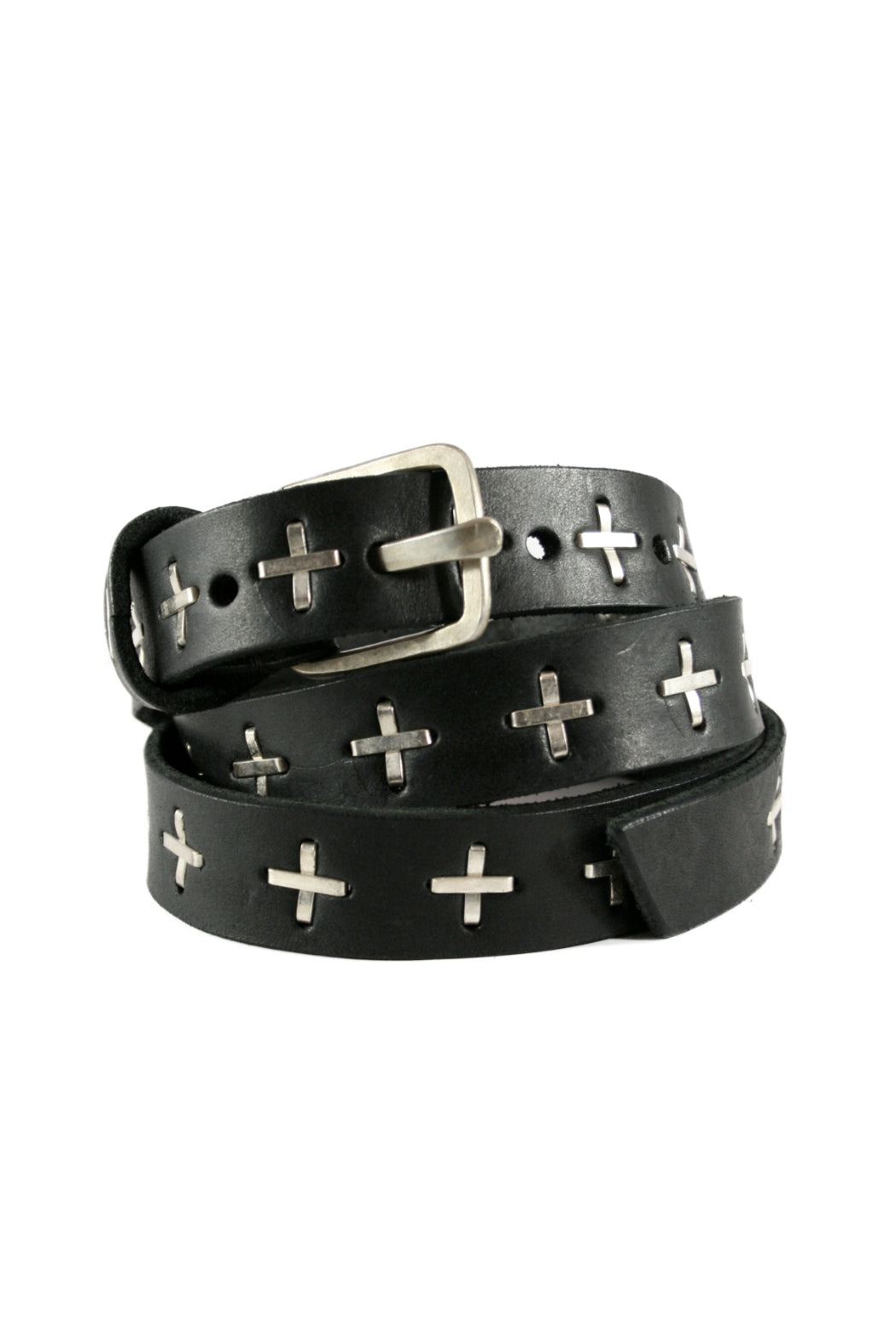 "Black Silver ""+"" Studded Q-buckle Belt"