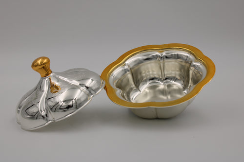 Round Large Silver Gold plated Bowl W/ Cover