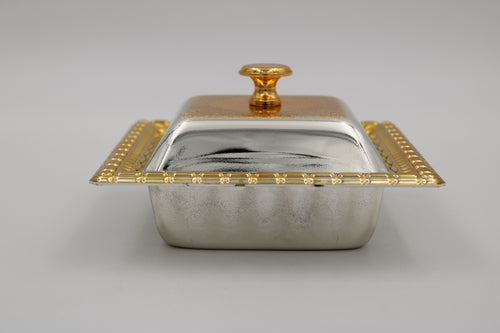 Square Large Silver Gold Plated Bowl W/ cover