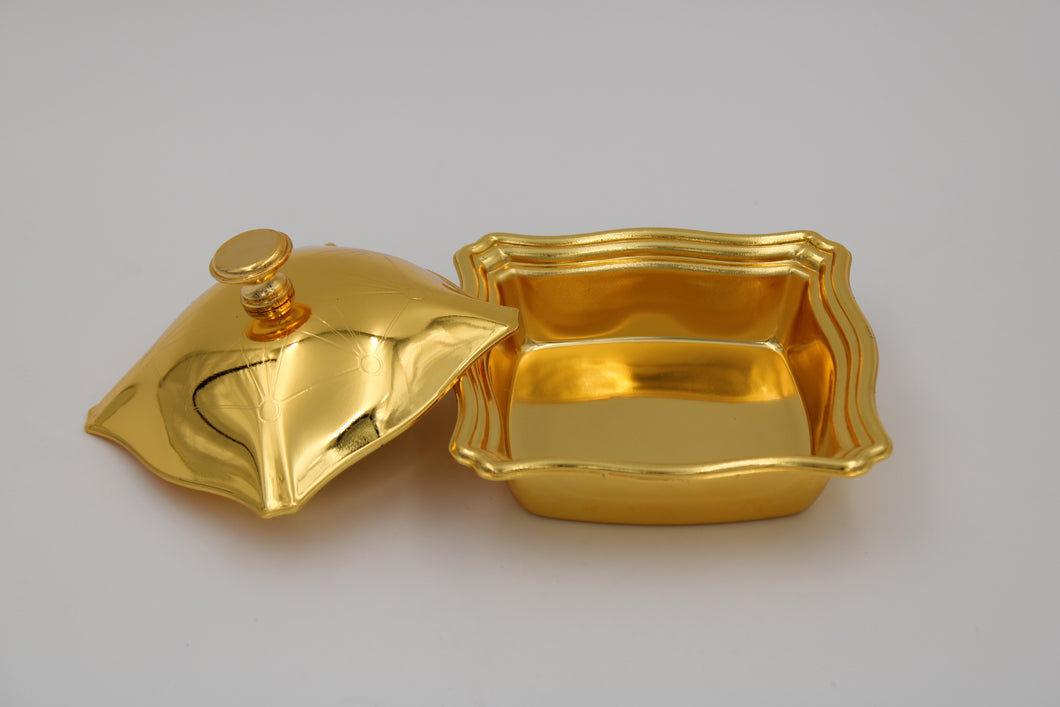 Square Medium Gold Plated Bowl W/ Cover