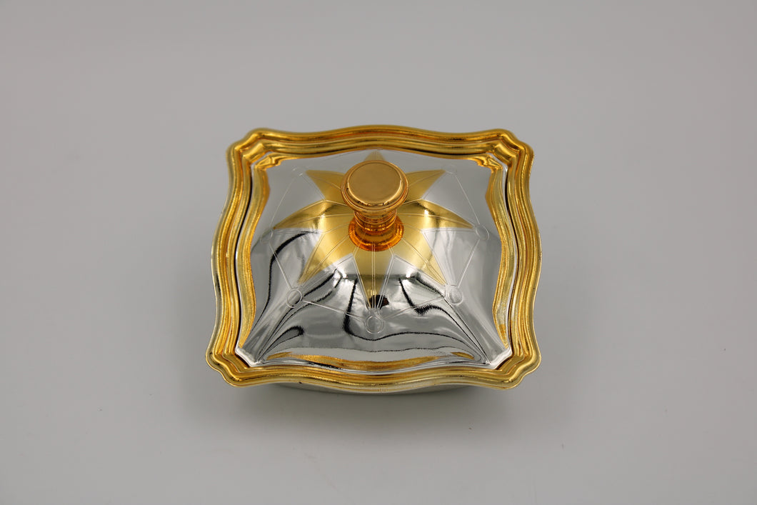 Square Medium Silver Gold plated Bowl with cover