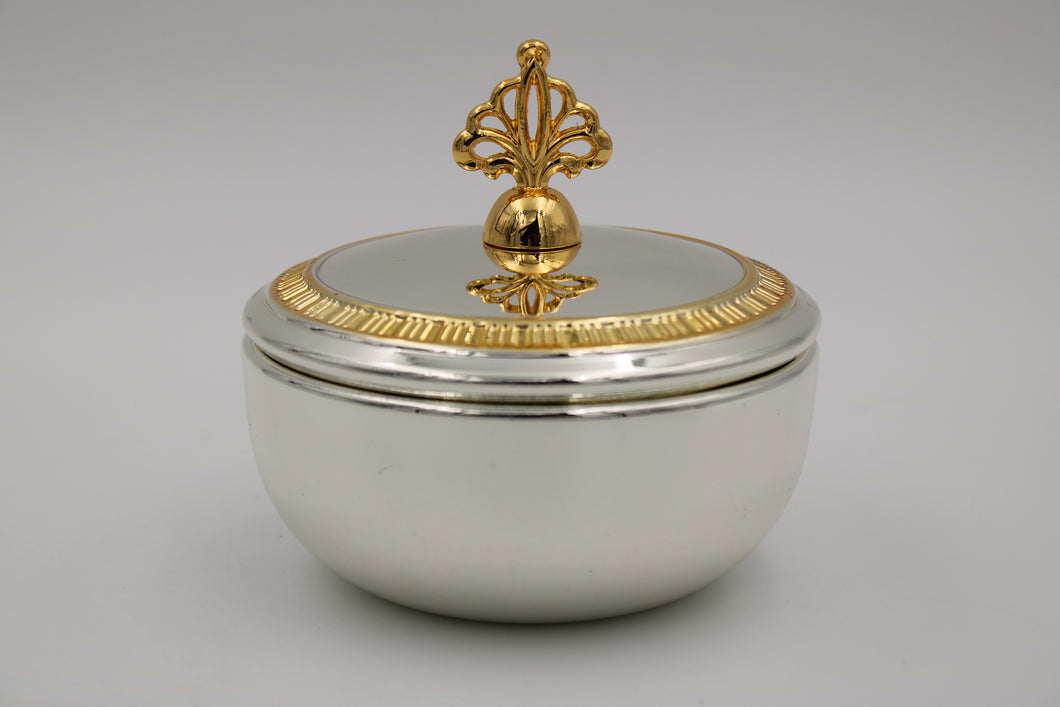 Round Medium Silver Gold Plated Bowl W/ Cover