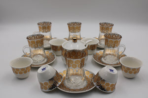 PORCELAIN AND GLASS WARE 21 PCS SET