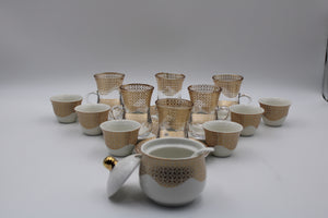 PORCELAIN AND GLASS WARE 21PCS SET